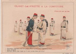 """CPA Publicitaire Publicité Réclame Gaufrette """"OLIBET"""" Soldat Militaire Militaria Illustrateur GUILLAUME  (2 Scans) - Publicité"""
