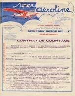 """2 En-Têtes """"Super Aéroline"""" New-York Motor Oil And Co - Salon De Provence (B Du R) - Format 21cm X 27cm - Advertising"""