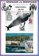 FRANCE- CARTE LANDRETHUN LE NORD BASE 3 OBLI MARQUISE 11.6.89 + CARTE OBLI ANNIV DEBARQUEMENT ARROMANCHES - WW2
