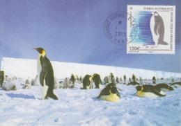 Carte  Maximum  1er  Jour    TAAF   Deux  Nouvelles  Colonies  De   Manchots  Empereurs    2015 - Pingouins & Manchots