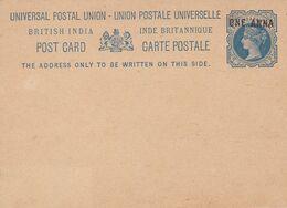 "BRITISH INDIA. INDE BRITANNIQUE ENTIER. CARTE POSTALE. SURTAXE ""ONE ANNA"". NON CIRCULEE -LILHU - Inde (...-1947)"