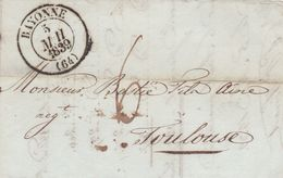 BAYONE A TOULOUSE, ANNEE 1839. FRANCE PRECURSEUR CIRCULEE. ONLY FRONT PART -LILHU - Marcophilie (Lettres)