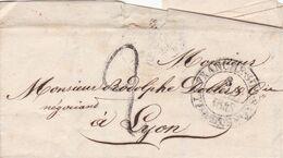 VILLEFRANCHE SUR SAONE A LYON, ANNEE 1843. FRANCE PRECURSEUR CIRCULEE. FULL CONTENT INSIDE -LILHU - Marcophilie (Lettres)