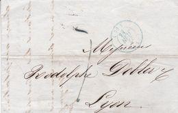 PARIS A LYON, ANNEE 1843. FRANCE PRECURSEUR CIRCULEE. FULL CONTENT INSIDE -LILHU - Marcophilie (Lettres)