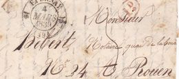 EPERNAY A ROUEN, ANNEE 1839. FRANCE PRECURSEUR CIRCULEE. -LILHU - Marcophilie (Lettres)