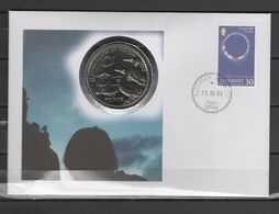 Alderney 1999 Space, Solar Eclipse Numismatic Cover With 2 Pound Coin - Europa