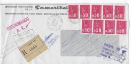 Lettre Recommandée 10/10/1972 Expédiée Par Samaritaine Paris Avec Retour Envoyeur Affranchissement 9 Marianne Bequet - Postmark Collection (Covers)