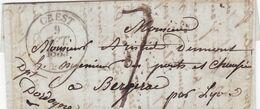 CREST (DROME) A BERGERAC (DORDOGNE), 1838. FRANCE PRECURSEUR CIRCULEE. FULL CONTENT INSIDE -LILHU - Marcophilie (Lettres)