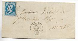 Lettre Napoléon 20 C Non Dentelé Jonzac (PC 1582) Vers Niort 1862 - Marcophilie (Lettres)
