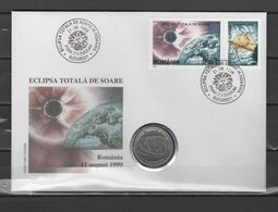 Romania 1999 Space, Solar Eclipse Numismatic Cover With 500 Lei Coin - Europa