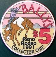 $5 Casino Chip. Bally's, Reno, NV. Rodeo 1991. O71. - Casino