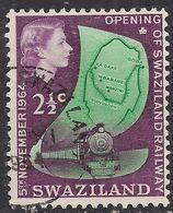 Swaziland 1964 QE2 2 1/2ct Green & Purple Goods Train Used SG 109 ( R623 ) - Swaziland (...-1967)