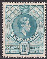 Swaziland 1938 - 54 KGV1 1 1/2d Light Blue MM SG 30b ( R1123 ) - Swaziland (...-1967)