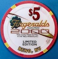 $5 Casino Chip. Fitzgeralds, Reno, NV. Millennium. O73. - Casino