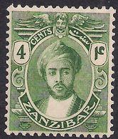Zanzibar 1921 - 29 KGV 4ct Green Sultan Khalifa MM SG 279 ( H261 ) - Zanzibar (...-1963)