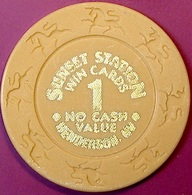 $1 Casino Chip. Sunset Station, Henderson, NV. Win Cards. O77. - Casino