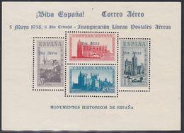 1938. * Edifil: EMISIONES LOCALES PATRIOTICAS: BURGOS 95-HOJA BLOQUE (azul) - Nationalistische Ausgaben