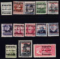 1937. * EMISIONES LOCALES PATRIOTICAS: DURANGO. Lote De Trece Valores De La Serie - Nationalistische Ausgaben