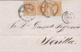 1860-FRONTAL- Edifil: 52(3). ISABEL II. CADIZ A SEVILLA. Triple Porte - 1850-68 Königreich: Isabella II.