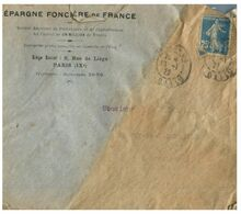 (G 3) France Cover (very Old / Condition As Seen On Scan) 1922 - From Epargne Foncière De France - Francia