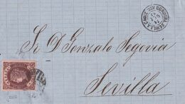 1863-FRONTAL- Edifil: 58. ISABEL II. SEVILLA A CADIZ. Fechador CORDOBA SEVILLA CADIZ / ASC. - 1850-68 Königreich: Isabella II.