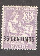 1908  Maroc Surchargés En Monnaie Espagnole  35 Centimos   Yv 24 *  MH - Neufs