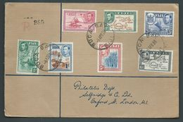 Fiji 1938 KGVI Definitives 7 Values On Clean Registered FDC Buca Bay To London Including 5d Blue Canes - Fidji (...-1970)