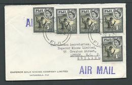 Fiji 1955 Double Weight Commercial Airmail Cover Vatukoula To London, 5 X 1/- Fisherman QEII Franking - Fidji (...-1970)