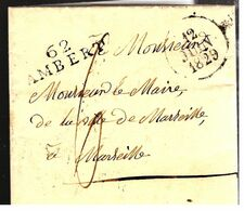 35759 - 62 AMBERT - Marcophilie (Lettres)