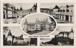 D41 - CHAUMONT SUR LOIRE-CPSM Dentelée Glacée Multivues (5 Vues) En Noir Et Blanc-Cour Interieure/Les Ecuries/Le Château - France