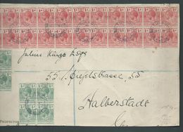 British Solomon Islands 1918 Large Regist'd Cover Front To Germany With 24 KGV 1d & 12 X 1/2d In Blocks Tied Tulagi Cds - Iles Salomon (...-1978)