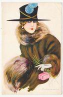 CPA 9 X 14 Illustrateur NANNI Buste De Femme Chapeau Fourrure Gant - Nanni