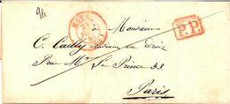 12---Moselle        Metz         Type 15      Port Payé   1843            Le Tout En Rouge - Marcophilie (Lettres)