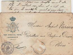 ALEXANDRIE EGYPTE 1907 ENVELOPPE + COURRIER NEW KHEDIVIAL HOTEL - Egitto