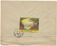 ESC 25c Semeuse O. Epinal Vosges 1924, Vignette Foire Expo Epinal Au Verso (2 Scans) - Postmark Collection (Covers)