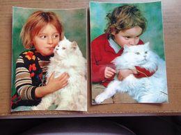 Kat, Chat, Cat / 2 Kaarten, Kindjes Met Witte Poes -> Onbeschreven - Gatos