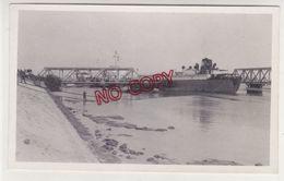 Egypte Canal De Suez El Ferdan Ismaïlia Accident Bateau World Peace Benzinier 31 Déc 1954 Rare Photo Format Carte Photo - Schiffe