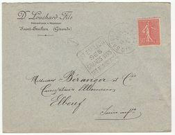 ESC 50c Semeuse O.Daguin Saint Emilion  Gironde 1927 - Postmark Collection (Covers)
