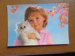 Kat, Cat, Chat / 2 Kaarten, Meisje Met Poesje -> Onbeschreven - Gatos