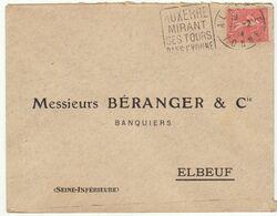 ESC 50c Semeuse O.Daguin Auxerre Yonne 1929 - Postmark Collection (Covers)