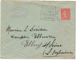 ESC 50c Semeuse O.Daguin Pacy Eure 1926 - Postmark Collection (Covers)