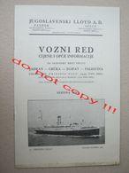 "Judaica / JUGOSLAVENSKI LLOYD A.D. Steamship ""PRINCEZA OLGA "": ADRIATIC - GREECE - EGYPT - PALESTINE With Price ( 1938 ) - Europa"