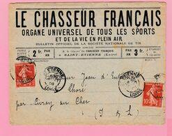 SE-2 Semeuse 10c Rouge Le Chasseur Français  St-Etienne 9..7.08   Verso= Civray S/ Cher 10.7  (+déchirure Du Clappet) - 1906-38 Semeuse Camée