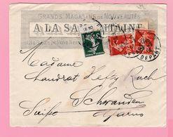 SE-2 Semeuse 5c Du Carnet + 10c Rouge  A La Samaritaine   Paris 26.7.13   Verso= Schwander GL 28.7.13 - 1906-38 Semeuse Camée