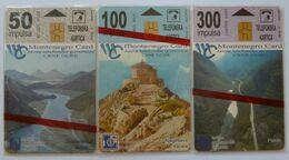 MONTENEGRO - 1st Issue - Set Of 3 - 50, 100 & 300 Units - Platije, Njegoseva Kapela & Skadarsko Jezero - Mint Blister - Montenegro