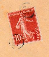 SE-2 Semeuse 10c Rouge + Cachet  OR X3 + Boîte  Suplémentaire R2 Pour Courcelle   Verso= 0 - 1906-38 Semeuse Camée