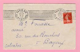SE-2 Semeuse 10c Rouge  Paris XIV Av D'Orleans  22 DEC 13   Verso= Bayeux 23.12.13 - 1906-38 Semeuse Camée