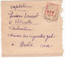 CORSE 1942 Récépissé 517 De Fortune (pénurie De Papier) Envoi Recommandé Facteur-receveur Olmeta > Bastia Cigarettes JOB - Documents De La Poste