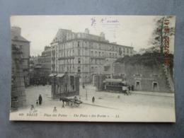CPA 29 Finistère  BREST - Place Des Portes , Rue De Siam ,  Ligne De Tramway  Attelage Avec Cheval  1925 LL Paris - Brest