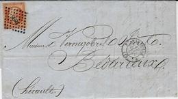 1857-lettre De  4 MARSEILLE 4  Cad T15 Affr. N°16  ( 3 Marges ) Oblit. P C 3896 - Marcophilie (Lettres)